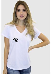 Camiseta Suffix Branca Gola V Estampa Patinha Cat Dog Preto Pequeno