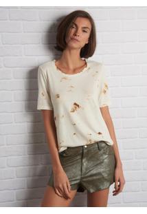 Camiseta John John June Burn Malha Off White Feminina (Shirt June Burn, P)