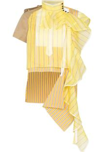 Sacai Blusa Assimétrica Drapeada - Amarelo