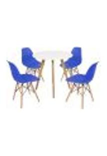 Mesa Inês 80Cm Branca + 4 Cadeiras Eames Eiffel - Azul