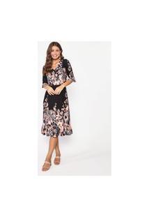 Vestido De Malha Soltinho Estampado Decote V Coral – 11585