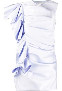 Alexandre Vauthier Vestido De Cetim Com Babados - Azul