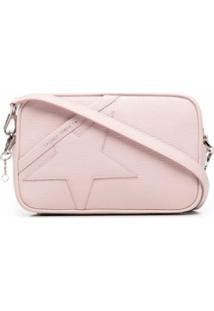 Golden Goose Logo-Print Star Patch Leather Shoulder Bag - Rosa