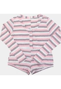 Pijama Flora Zuu Manga Longa Listrado Feminino - Feminino-Estampado