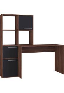 Escrivaninha Modern Office 3 Portas 3 Nichos Preto E Estilare Móveis
