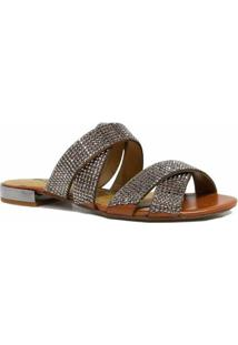 733d746082 ... Rasteira Zariff Shoes Bico Aberto Pedras - Feminino-Marrom