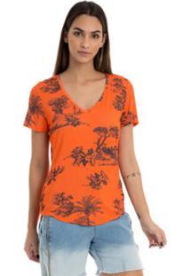 T-Shirt Moikana Malha Estampada - Feminino-Laranja