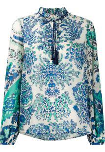 Twin-Set Blusa Floral Com Tassel - Verde