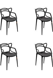 Kit 04 Cadeiras Allegra Preta Rivatti