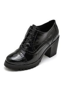 Sapato Oxford Salto Tratorado Ankle Boot Q&A Em Couro Preto Verniz