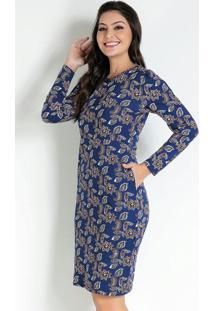 Vestido Com Bolsos Folhagem Azul Moda Evangélica