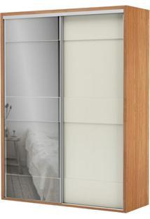 Armario Premium Com Espelho 2 Portas E 2 Gavetas Cor Freijo Com Off White Brilho 1,79 Mt (Larg) - 56454 - Sun House