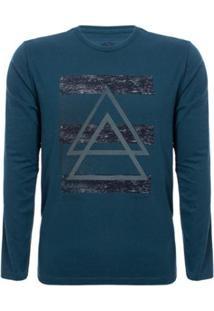 Camiseta Aleatory Manga Longa Front Masculina - Masculino-Azul
