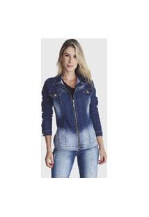 Jaqueta Jeans Zuren Stone Com Ziper Azul