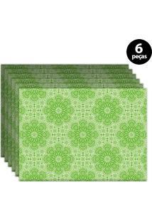 Jogo Americano Mdecore Ornamental 40X28Cm Verde 6Pçs