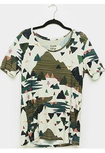 Camiseta T-Shirt Cantão Boyfriend Montanha Feminina - Feminino