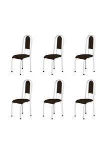 Kit 6 Cadeiras Anatômicas 0.122 Estofada Branco/Marrom Escuro - Marche
