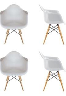Kit 4 Cadeiras Eiffel Melbourne Branca Com Pés Palito Em Madeira - Mp Decor