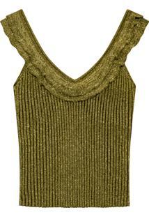 Blusa Metalizada Tricô Dourado - Lez A Lez