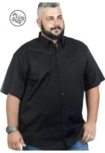 Camisa Plus Size Bigshirts Manga Curta Elastano - Preta