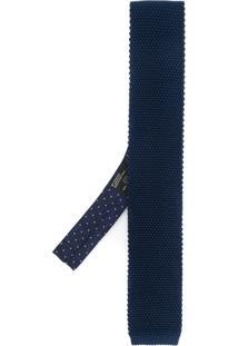 Etro Gravata Skinny De Seda - Azul