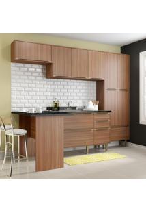 Cozinha Compacta 11 Portas 3 Gavetas 5454 Nogueira/Malt - Multimóveis
