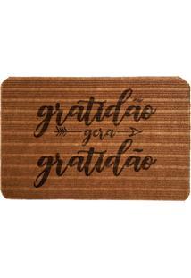 Capacho Carpet Gratidão Gera Gratidão Marrom Único Love Decor