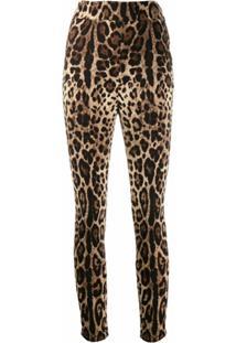 Dolce & Gabbana Calça Cropped Com Estampa De Leopardo - Neutro