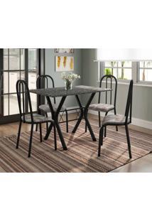 Conjunto De Mesa Miami 4 Cadeiras Preto Fosco/Tribal Fabone