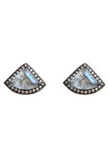 Brinco Triângulo Cristal Fusion Narcizza Semijoias Banhado No Ródio Negro - B203(3)