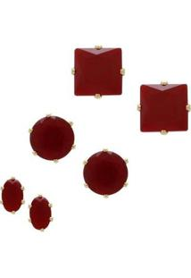 Brinco Pequeno Com Zircônia Banho Em Ouro 18K 3 Pares - Feminino-Vermelho Escuro