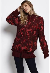 Jaqueta Em Tule Com Bordado- Bordô & Vermelha- Morenmorena Rosa