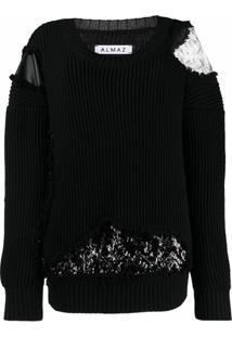 Almaz Suéter Com Recorte De Renda - Preto