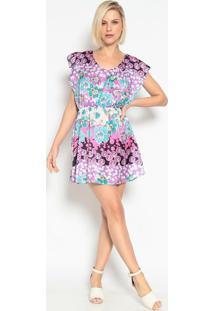 Vestido Com Elã¡Stico- Pink & Roxo- Vide Bulavide Bula