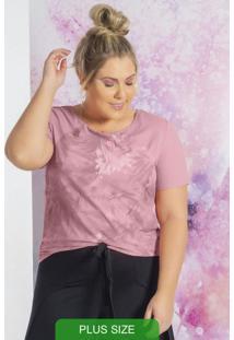 Blusa Manga Curta Com Estampa Rosa