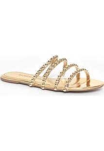 Sandália Rasteira Metalizada Com Tiras- Dourada- Mormorena Rosa