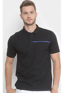 Camisa Polo Calvin Klein Estampada Logo Masculina - Masculino-Preto