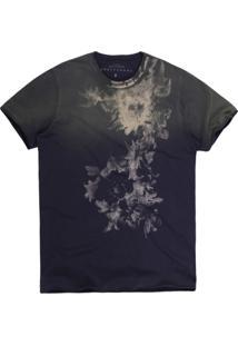 Camiseta Khelf Flores Azul Marinho