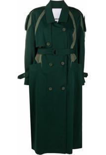 Kenzo Trench Coat Com Cinto Bicolor - Verde