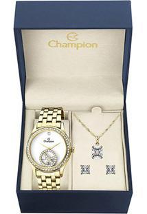 Kit Relógio Champion Analógico Ch25785W Feminino - Feminino-Dourado
