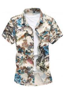 Camisa Masculina Estampa Florida - Azul