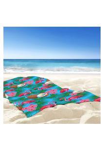 Toalha De Praia / Banho Flamingos Bahamas Tropical Único