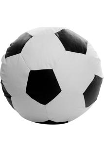 Puff Big Ball Futebol Pop Branco E Preto