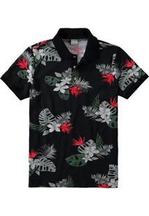 Camisa Preta Polo Slim Floral Malwee