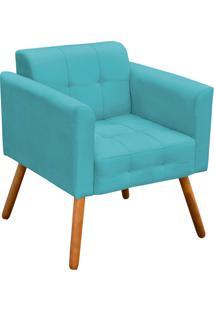 Poltrona Decorativa Elisa Suede Azul Tiffany Pés Palito - D'Rossi - Tricae