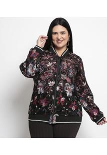 Jaqueta Floral Em Renda- Preta & Vermelha- Pianetapianeta