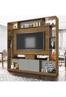 Estante Home Duo Divisor De Ambientes Freijã³/Concreto/Preto Velluto Mã³Veis Leã£O - Multicolorido - Dafiti