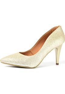 Scarpin Factor Salto Médio - Glitter Ligth Ouro - Kanui
