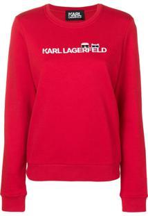 Karl Lagerfeld Blusa De Moletom Com Logo 'Ikonik' - Vermelho