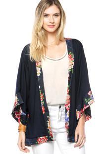 Camisa Lança Perfume Kimono Azul